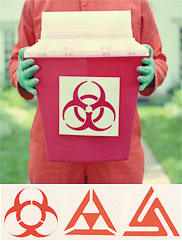 Rejected biohazard symbols
